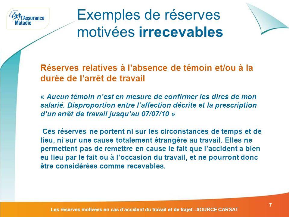 Les réserves motivées en cas daccident du travail et de trajet –SOURCE CARSAT 7 Réserves relatives à labsence de témoin et/ou à la durée de larrêt de