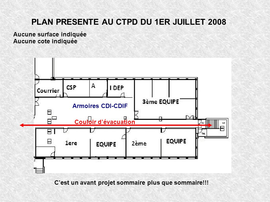 PLAN PRESENTE AU CTPD DU 1ER JUILLET 2008 Armoires CDI-CDIF Couloir dévacuation Aucune surface indiquée Aucune cote indiquée Cest un avant projet sommaire plus que sommaire!!!