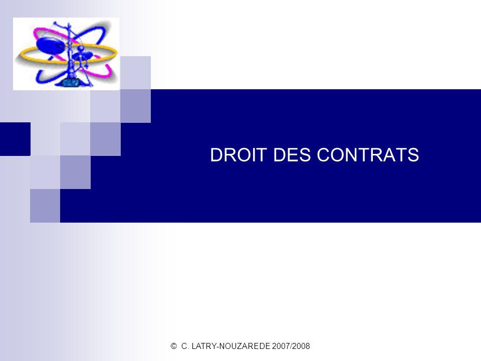 © C. LATRY-NOUZAREDE 2007/2008 DROIT DES CONTRATS