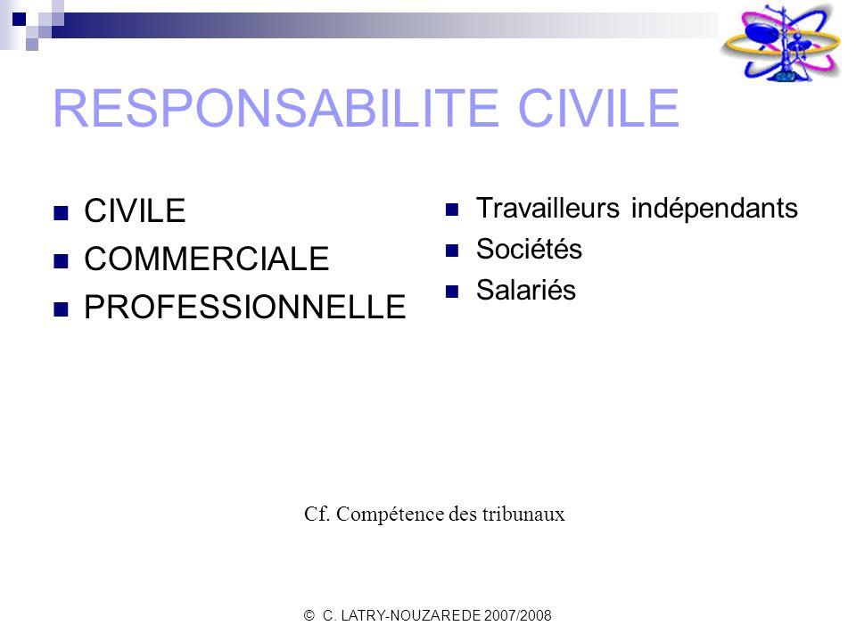 © C. LATRY-NOUZAREDE 2007/2008 RESPONSABILITE CIVILE CIVILE COMMERCIALE PROFESSIONNELLE Travailleurs indépendants Sociétés Salariés Cf. Compétence des
