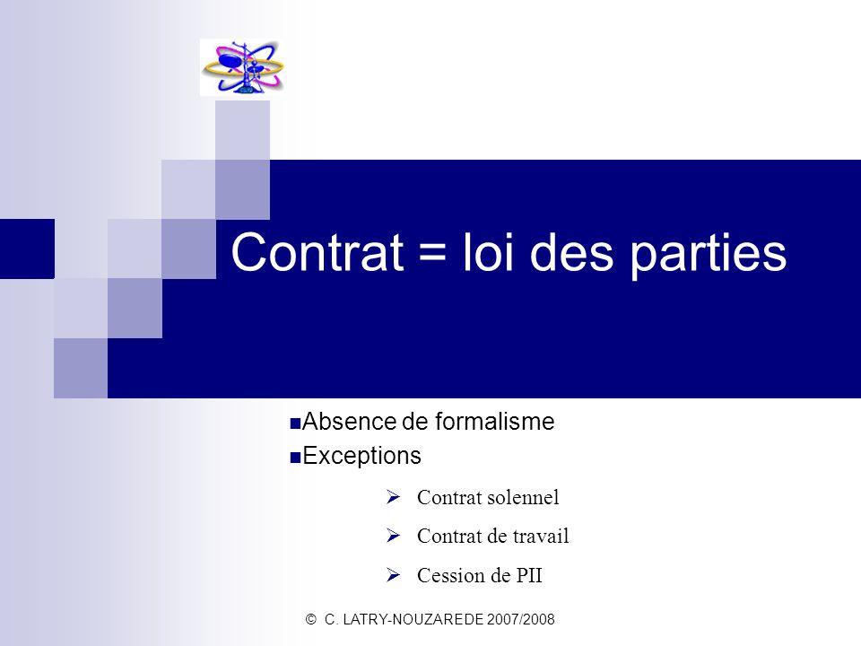 © C. LATRY-NOUZAREDE 2007/2008 Contrat = loi des parties Absence de formalisme Exceptions Contrat solennel Contrat de travail Cession de PII