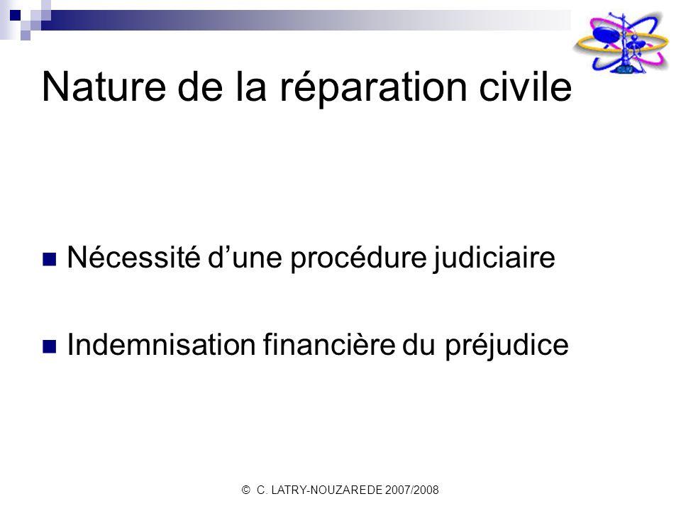 © C. LATRY-NOUZAREDE 2007/2008 Nature de la réparation civile Nécessité dune procédure judiciaire Indemnisation financière du préjudice