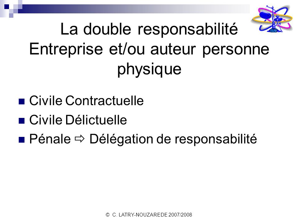 © C. LATRY-NOUZAREDE 2007/2008 La double responsabilité Entreprise et/ou auteur personne physique Civile Contractuelle Civile Délictuelle Pénale Délég