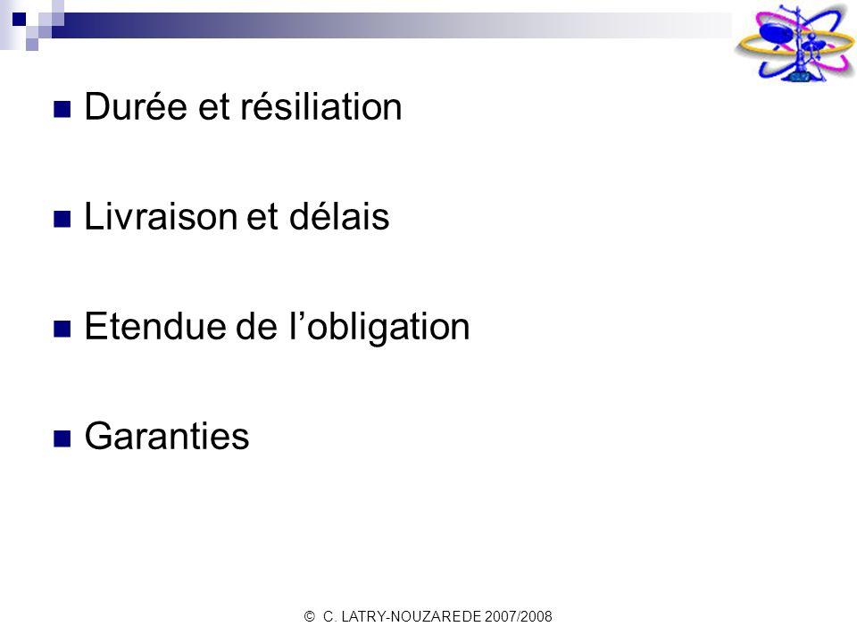 © C. LATRY-NOUZAREDE 2007/2008 Durée et résiliation Livraison et délais Etendue de lobligation Garanties