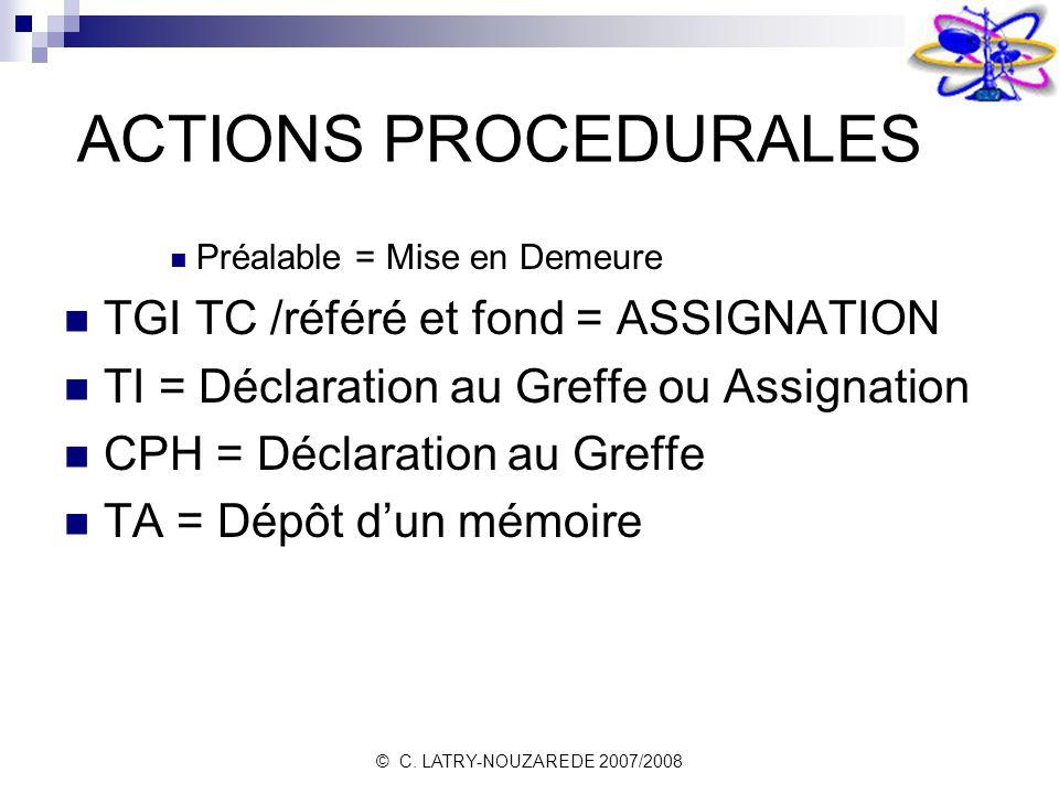 © C. LATRY-NOUZAREDE 2007/2008 ACTIONS PROCEDURALES Préalable = Mise en Demeure TGI TC /référé et fond = ASSIGNATION TI = Déclaration au Greffe ou Ass