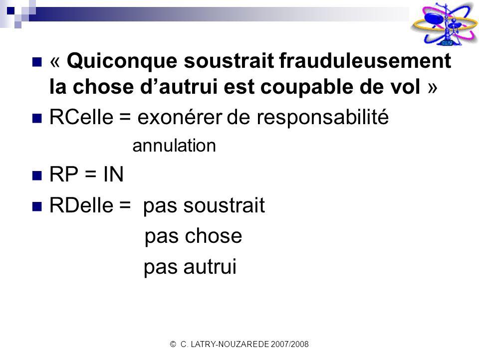 © C. LATRY-NOUZAREDE 2007/2008 « Quiconque soustrait frauduleusement la chose dautrui est coupable de vol » RCelle = exonérer de responsabilité annula