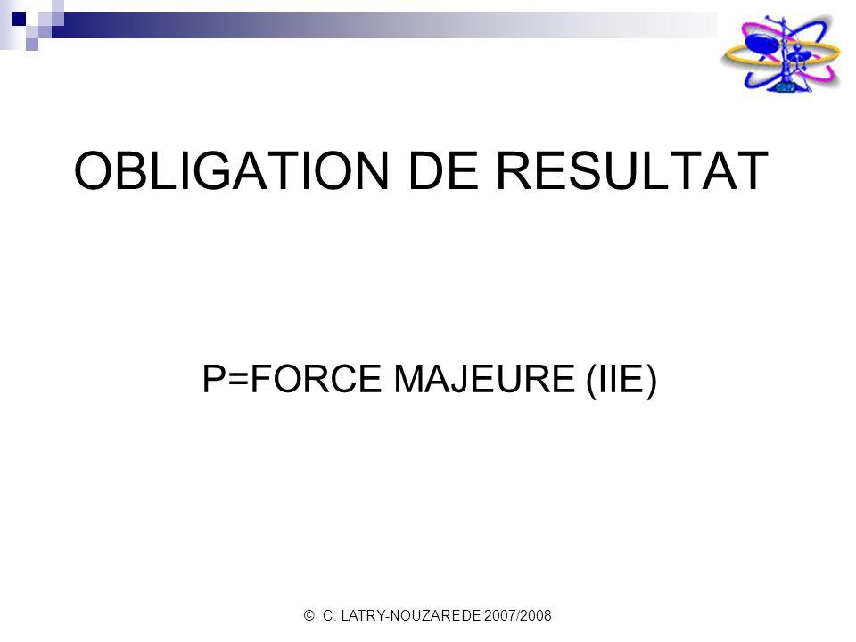 © C. LATRY-NOUZAREDE 2007/2008 OBLIGATION DE RESULTAT P=FORCE MAJEURE (IIE)