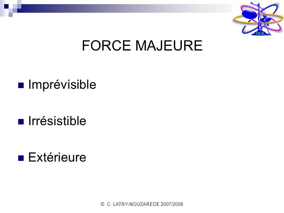 © C. LATRY-NOUZAREDE 2007/2008 FORCE MAJEURE Imprévisible Irrésistible Extérieure