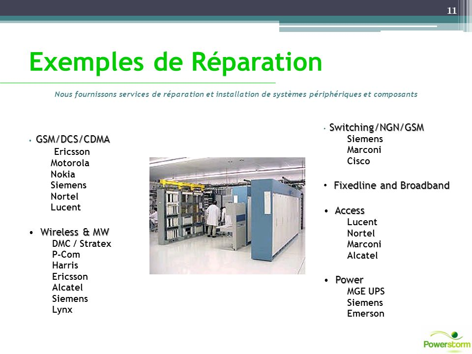 Exemples de Réparation Nous fournissons services de réparation et installation de systèmes périphériques et composants GSM/DCS/CDMA Ericsson Motorola