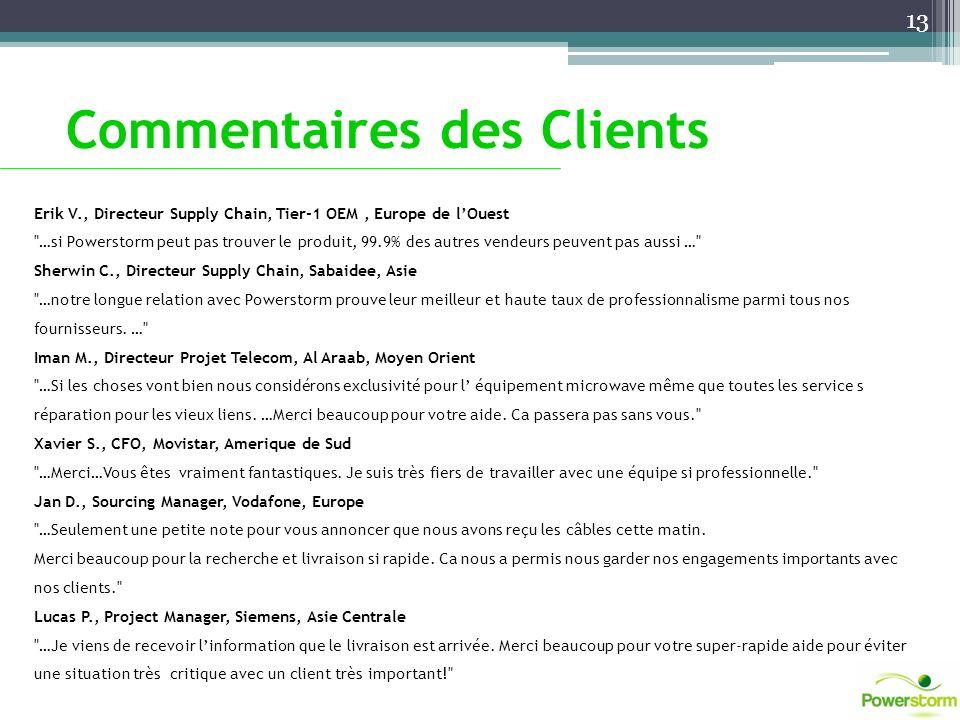 Commentaires des Clients Erik V., Directeur Supply Chain, Tier-1 OEM, Europe de lOuest