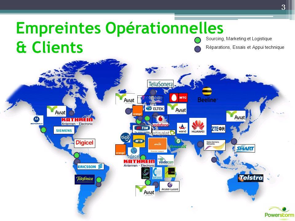 Sourcing, Marketing et Logistique Réparations, Essais et Appui technique Empreintes Opérationnelles & Clients 3