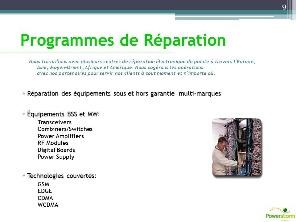 Programmes de Réparation Réparation des équipements sous et hors garantie multi-marques Équipements BSS et MW Équipements BSS et MW: Transceivers Comb