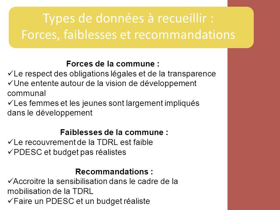 Types de données à recueillir : Forces, faiblesses et recommandations Forces de la commune : Le respect des obligations légales et de la transparence