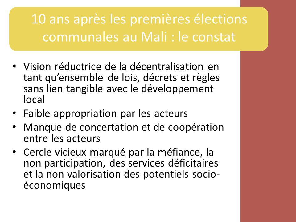 10 ans après les premières élections communales au Mali : le constat Vision réductrice de la décentralisation en tant quensemble de lois, décrets et r
