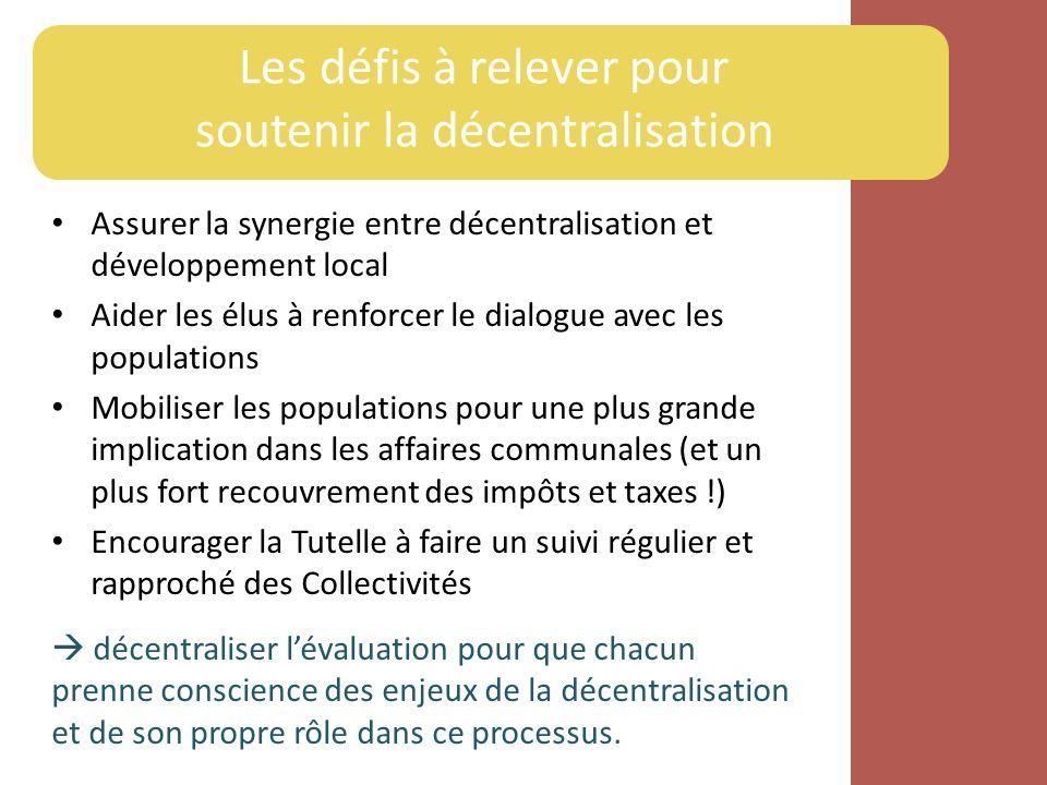 Les défis à relever pour soutenir la décentralisation Assurer la synergie entre décentralisation et développement local Aider les élus à renforcer le
