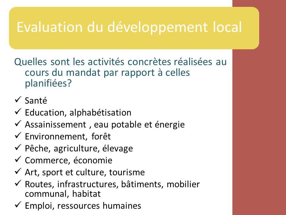 Quelles sont les activités concrètes réalisées au cours du mandat par rapport à celles planifiées? Santé Education, alphabétisation Assainissement, ea