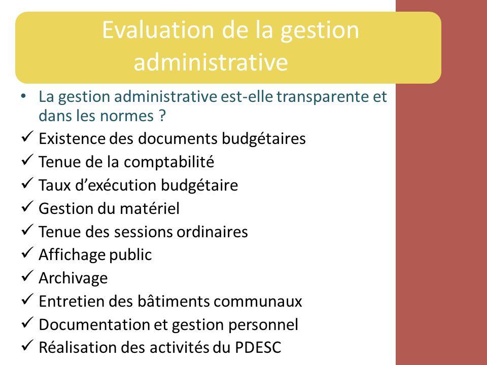 La gestion administrative est-elle transparente et dans les normes ? Existence des documents budgétaires Tenue de la comptabilité Taux dexécution budg