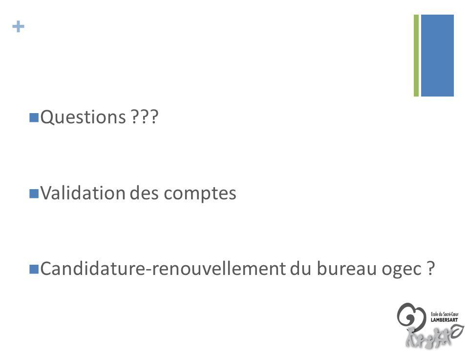 + Questions ??? Validation des comptes Candidature-renouvellement du bureau ogec ?