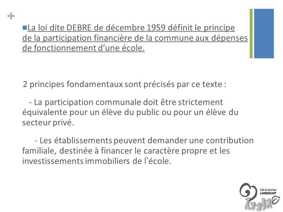 + La loi dite DEBRE de décembre 1959 définit le principe de la participation financière de la commune aux dépenses de fonctionnement dune école. 2 pri