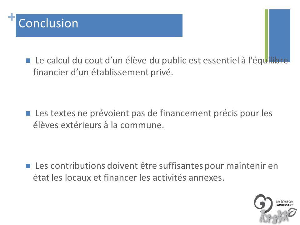 + Le calcul du cout dun élève du public est essentiel à léquilibre financier dun établissement privé. Les textes ne prévoient pas de financement préci