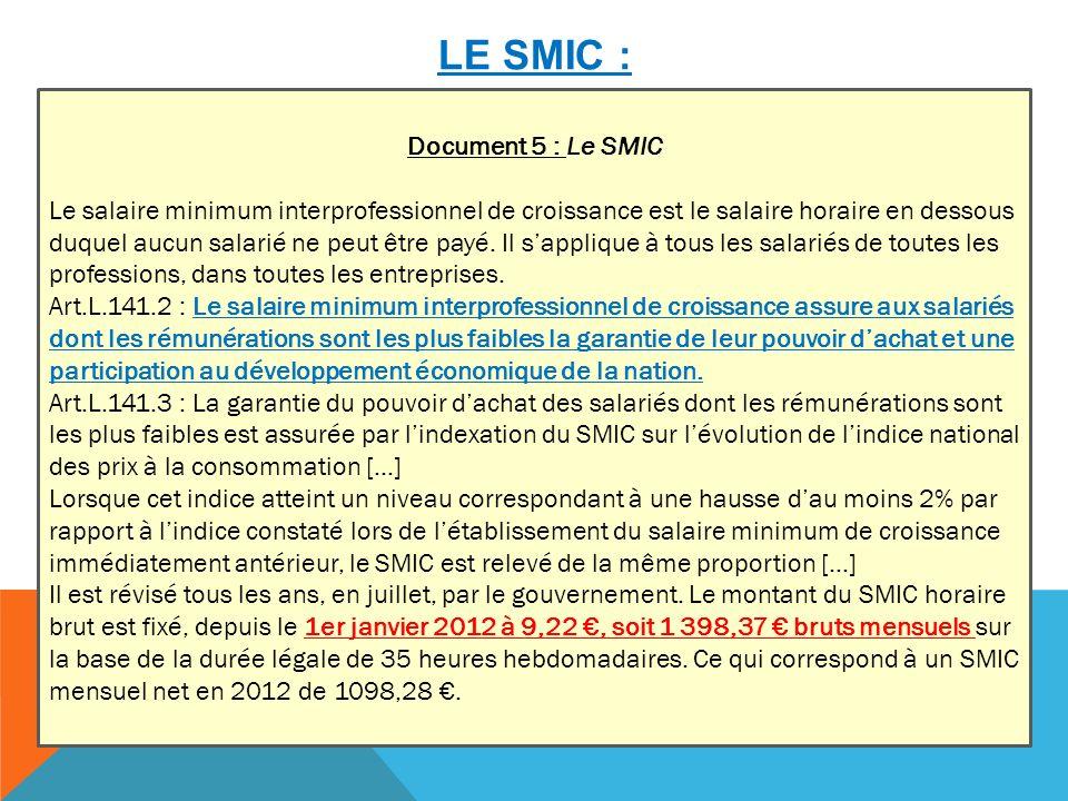 LE SMIC : Document 5 : Le SMIC Le salaire minimum interprofessionnel de croissance est le salaire horaire en dessous duquel aucun salarié ne peut être payé.