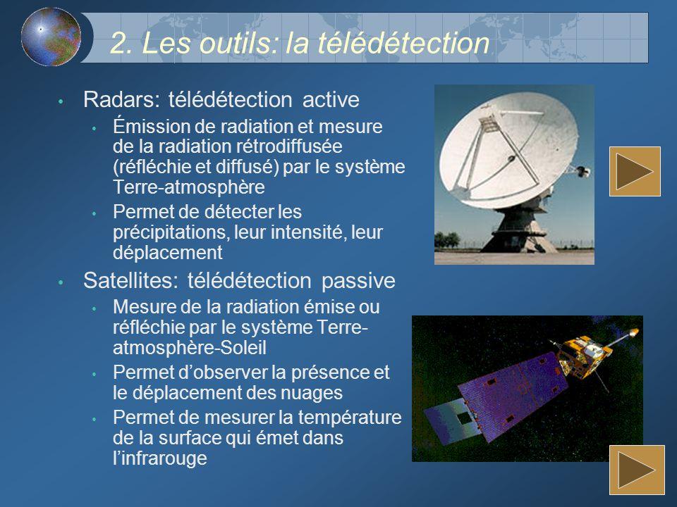 2. Les outils: la télédétection Radars: télédétection active Émission de radiation et mesure de la radiation rétrodiffusée (réfléchie et diffusé) par