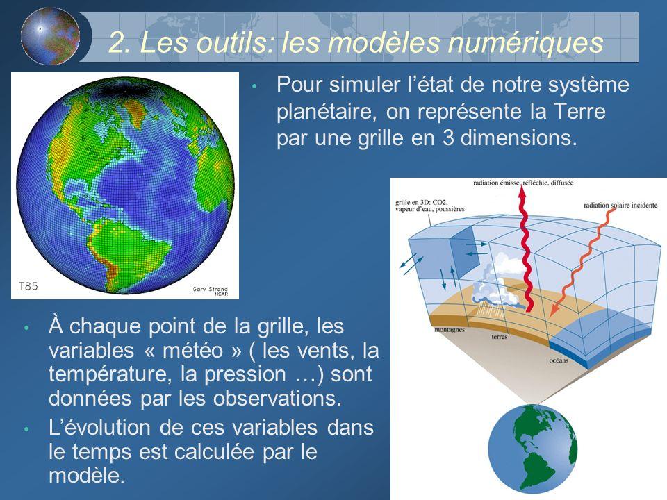 2. Les outils: les modèles numériques Pour simuler létat de notre système planétaire, on représente la Terre par une grille en 3 dimensions. À chaque