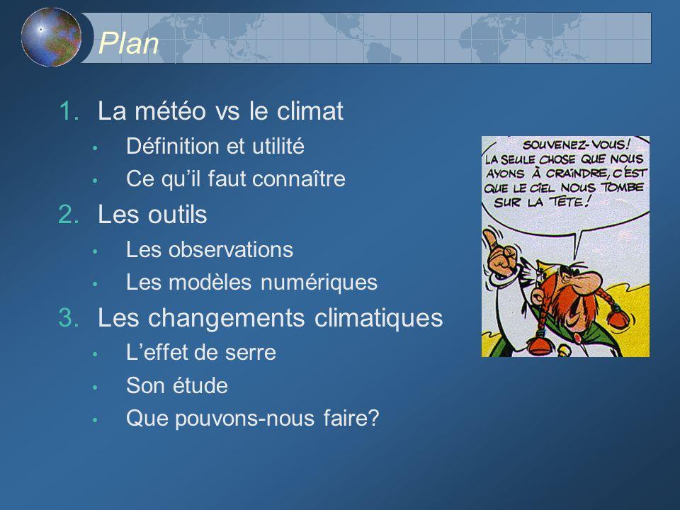 Plan 1. La météo vs le climat Définition et utilité Ce quil faut connaître 2. Les outils Les observations Les modèles numériques 3. Les changements cl