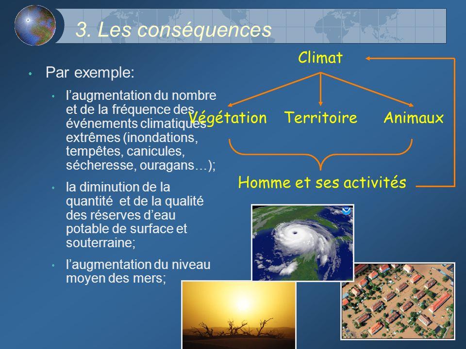 3. Les conséquences Par exemple: laugmentation du nombre et de la fréquence des événements climatiques extrêmes (inondations, tempêtes, canicules, séc