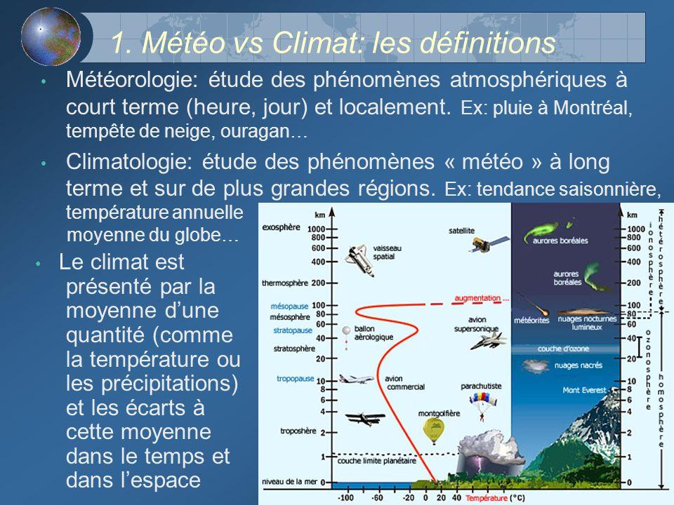1. Météo vs Climat: les définitions Météorologie: étude des phénomènes atmosphériques à court terme (heure, jour) et localement. Ex: pluie à Montréal,