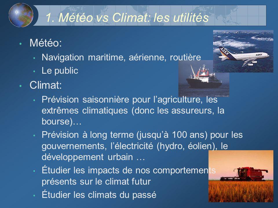 1. Météo vs Climat: les utilités Météo: Navigation maritime, aérienne, routière Le public Climat: Prévision saisonnière pour lagriculture, les extrême