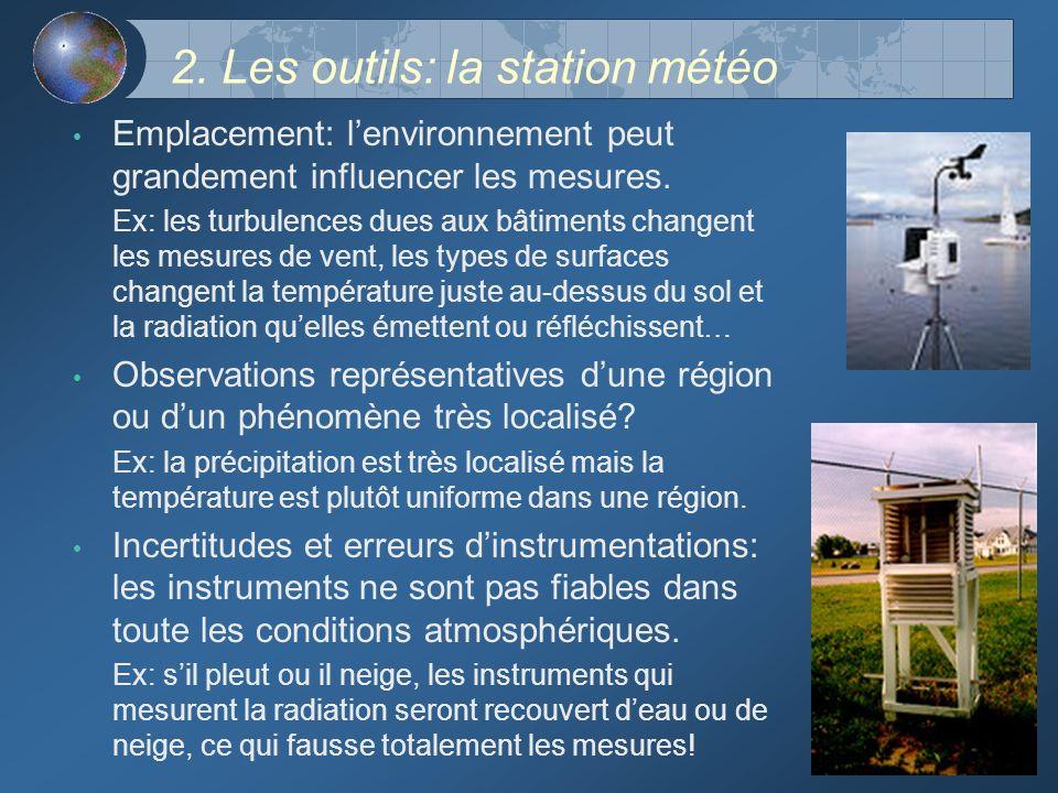 2. Les outils: la station météo Emplacement: lenvironnement peut grandement influencer les mesures. Ex: les turbulences dues aux bâtiments changent le