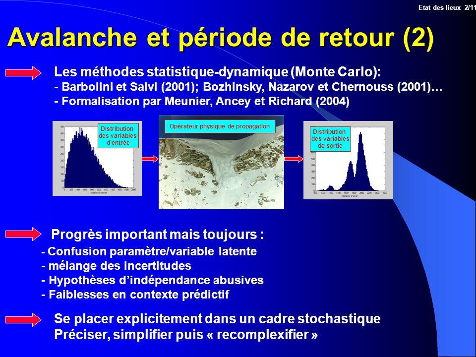 Avalanche et période de retour (2) Les méthodes statistique-dynamique (Monte Carlo): - Barbolini et Salvi (2001); Bozhinsky, Nazarov et Chernouss (200