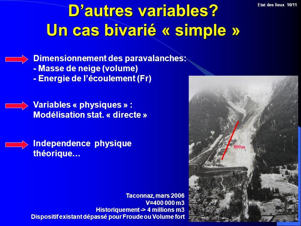 Dautres variables? Un cas bivarié « simple » Dimensionnement des paravalanches: - Masse de neige (volume) - Energie de lécoulement (Fr) Etat des lieux