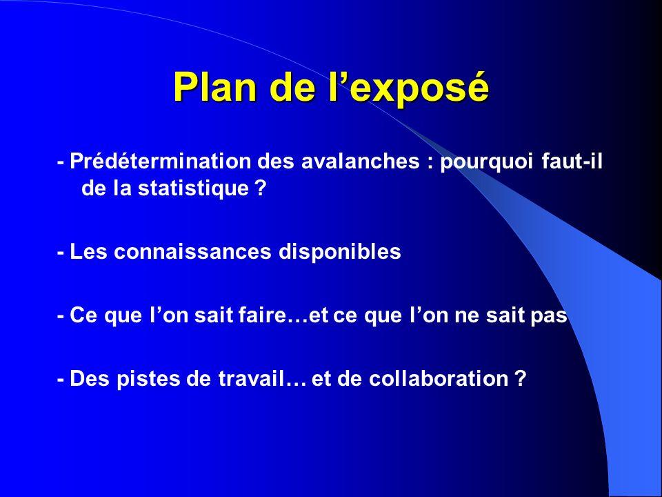 Plan de lexposé - Prédétermination des avalanches : pourquoi faut-il de la statistique ? - Les connaissances disponibles - Ce que lon sait faire…et ce