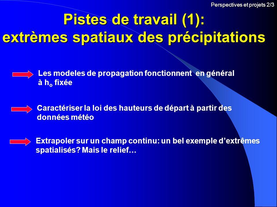 Pistes de travail (1): extrèmes spatiaux des précipitations Caractériser la loi des hauteurs de départ à partir des données météo Perspectives et proj