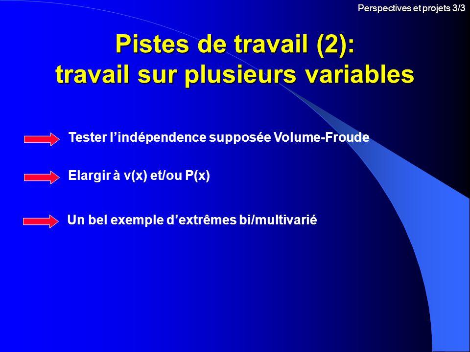 Pistes de travail (2): travail sur plusieurs variables Perspectives et projets 3/3 Tester lindépendence supposée Volume-Froude Elargir à v(x) et/ou P(