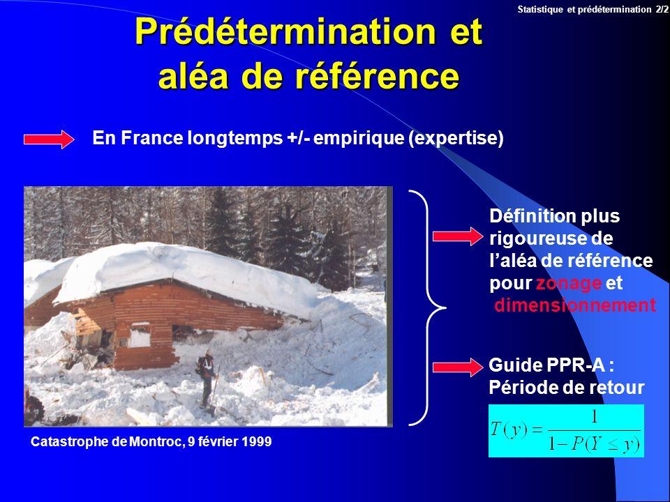Prédétermination et aléa de référence Statistique et prédétermination 2/2 En France longtemps +/- empirique (expertise) Catastrophe de Montroc, 9 févr