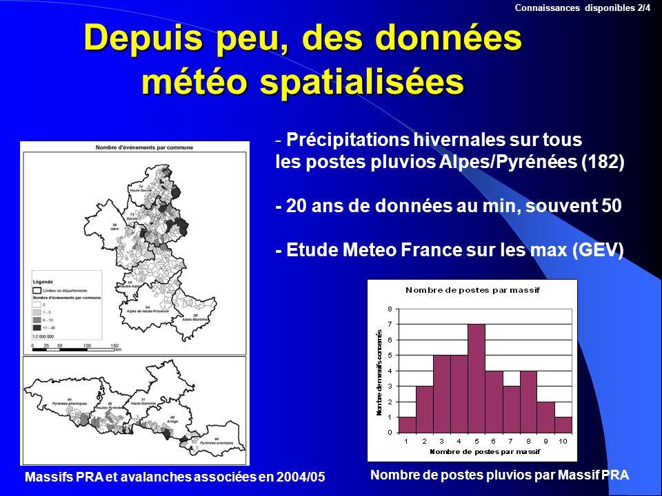 Depuis peu, des données météo spatialisées Massifs PRA et avalanches associées en 2004/05 Nombre de postes pluvios par Massif PRA Connaissances dispon