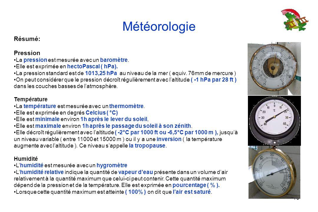 10 Météorologie Résumé: Pression La pression est mesurée avec un baromètre. Elle est exprimée en hectoPascal ( hPa). La pression standard est de 1013,