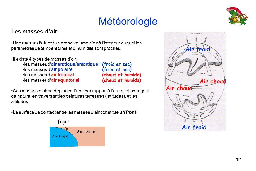 12 Météorologie Les masses dair Une masse dair est un grand volume dair à lintérieur duquel les paramètres de températures et dhumidité sont proches.