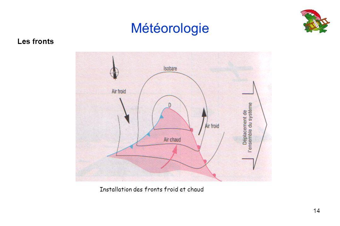 14 Météorologie Les fronts Installation des fronts froid et chaud