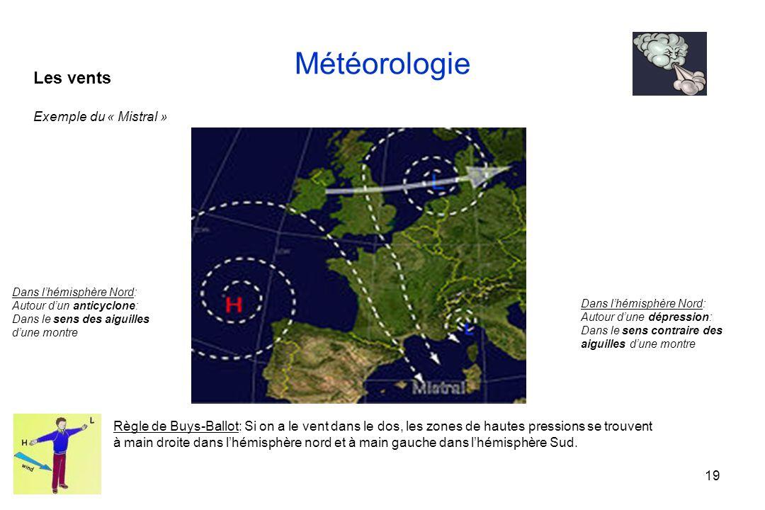 19 Météorologie Les vents Exemple du « Mistral » Règle de Buys-Ballot: Si on a le vent dans le dos, les zones de hautes pressions se trouvent à main d