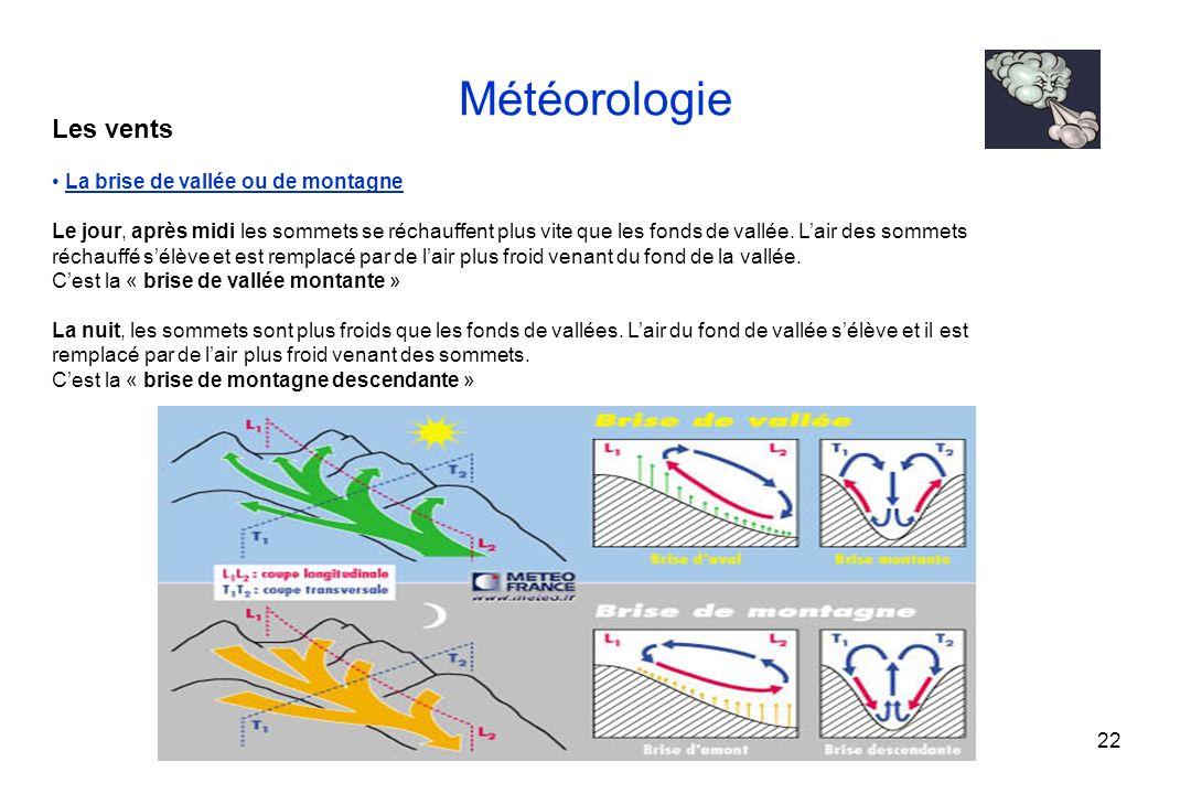 22 Météorologie Les vents La brise de vallée ou de montagne Le jour, après midi les sommets se réchauffent plus vite que les fonds de vallée. Lair des