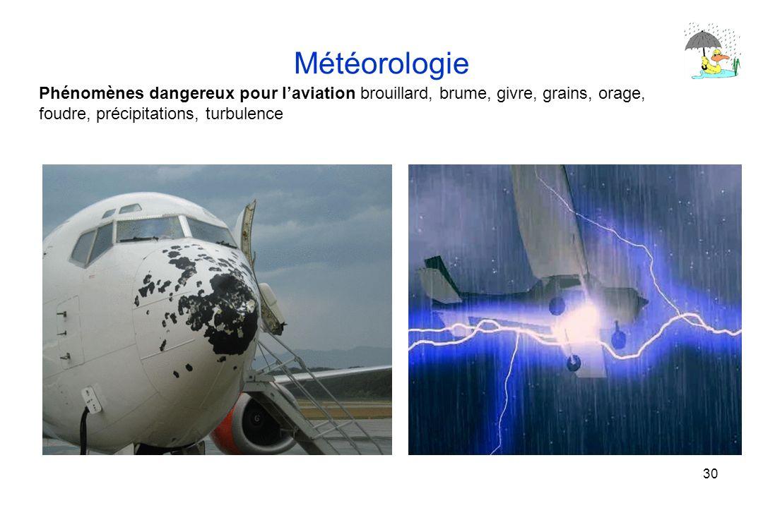 30 Météorologie Phénomènes dangereux pour laviation brouillard, brume, givre, grains, orage, foudre, précipitations, turbulence