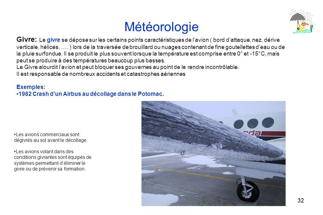 32 Météorologie Givre: Le givre se dépose sur les certains points caractéristiques de lavion ( bord dattaque, nez, dérive verticale, hélices, …. ) lor