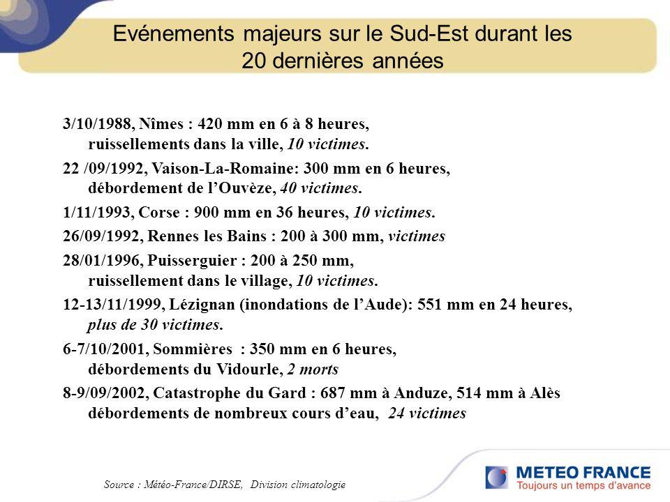 Evénements majeurs sur le Sud-Est durant les 20 dernières années 3/10/1988, Nîmes : 420 mm en 6 à 8 heures, ruissellements dans la ville, 10 victimes.