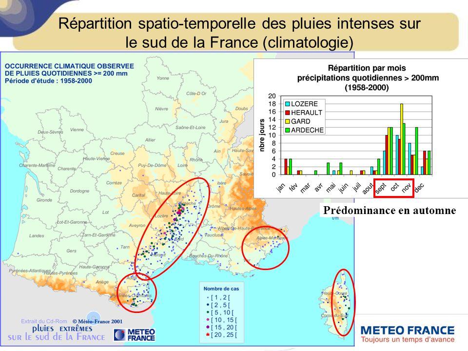 Prédominance en automne Répartition spatio-temporelle des pluies intenses sur le sud de la France (climatologie)