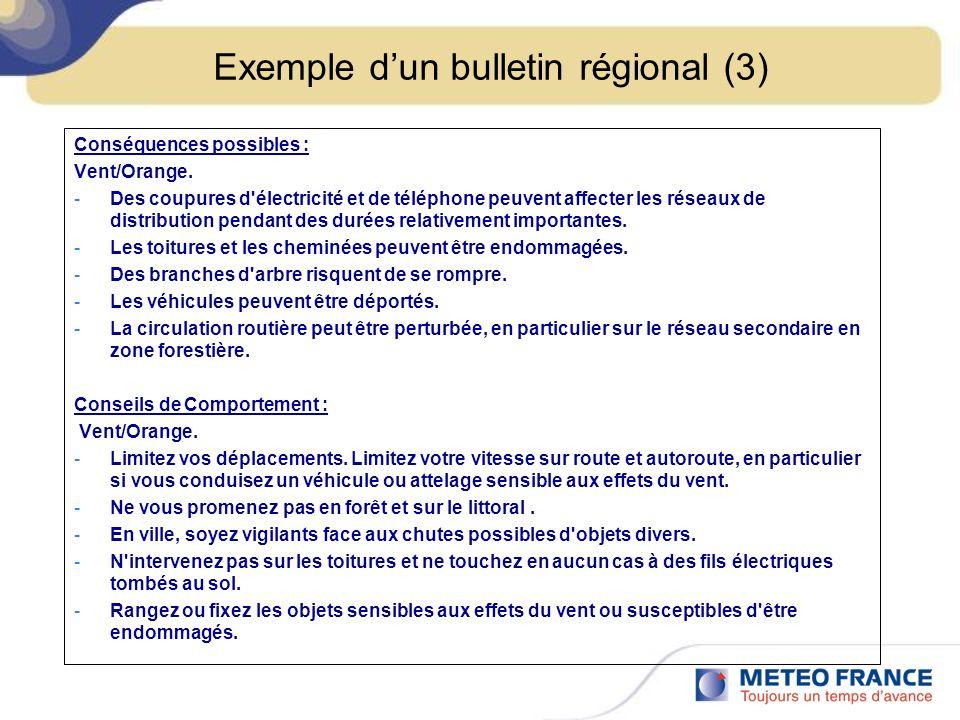 Exemple dun bulletin régional (3) Conséquences possibles : Vent/Orange.