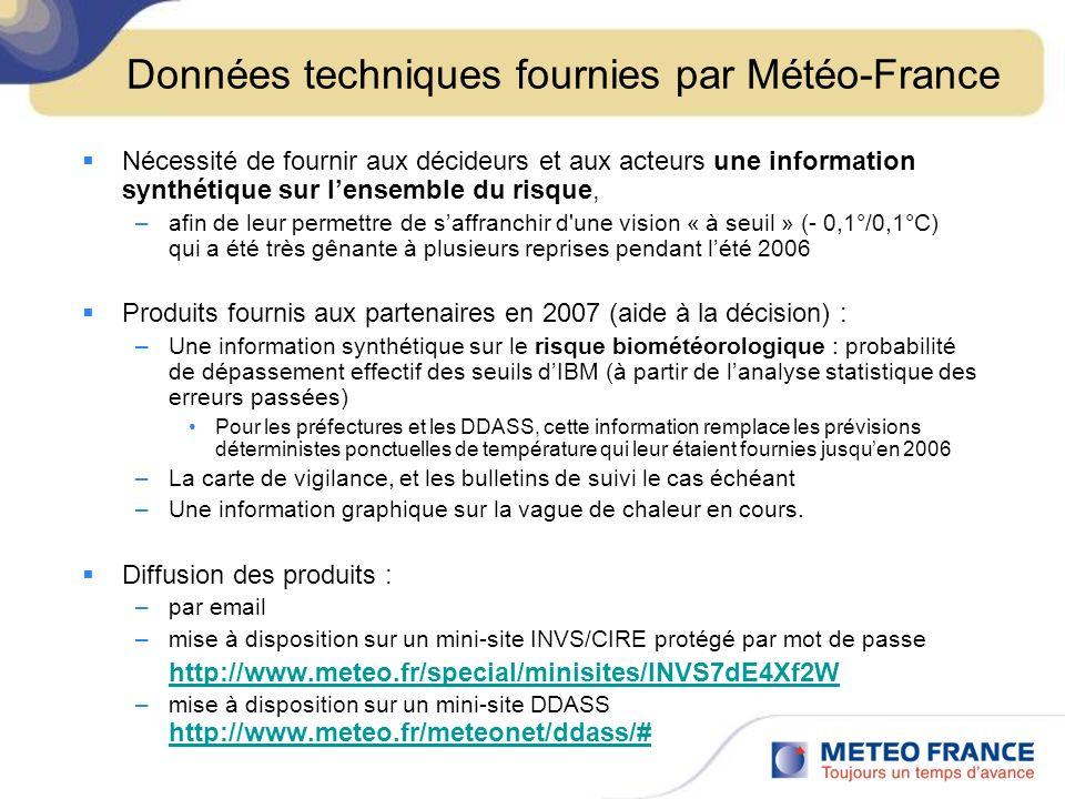 Données techniques fournies par Météo-France Nécessité de fournir aux décideurs et aux acteurs une information synthétique sur lensemble du risque, –afin de leur permettre de saffranchir d une vision « à seuil » (- 0,1°/0,1°C) qui a été très gênante à plusieurs reprises pendant lété 2006 Produits fournis aux partenaires en 2007 (aide à la décision) : –Une information synthétique sur le risque biométéorologique : probabilité de dépassement effectif des seuils dIBM (à partir de lanalyse statistique des erreurs passées) Pour les préfectures et les DDASS, cette information remplace les prévisions déterministes ponctuelles de température qui leur étaient fournies jusquen 2006 –La carte de vigilance, et les bulletins de suivi le cas échéant –Une information graphique sur la vague de chaleur en cours.